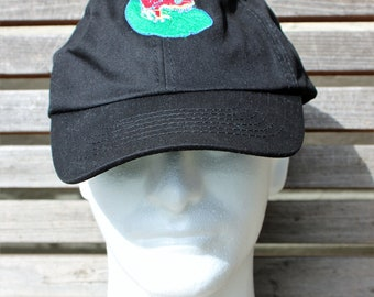 Embroidered Baseball Hat Cap, Embrodered with a frog on a lilypad on a black cap, Adjustable hat, adult