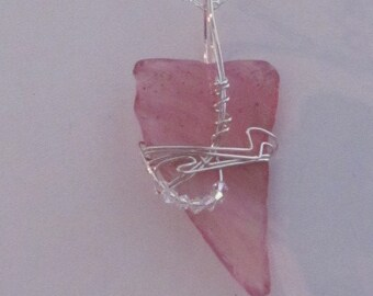 Sterling Silver Wire Wrapped Hand Blown Glass Shard Pendant with Clear Swarovski Crystal AB