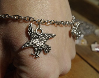 Rebel Girl Charm Bracelet, Harley Davidson Bangle, Biker Bracelet, Wolf Charm, Eagle, Knife, Skull, Gift for Motorcycle Enthusiast