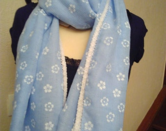 Blue cotton printed scarf