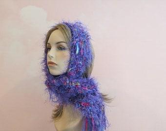 Yarn scarf,Violet Pantone 2018 scarf,women's clothing Boho,Boho Clothing,Boho scarves,fringe scarves,skinny boho scarf,rainbow scarf