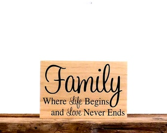 Rustic Family Sign, Where Life Begins And Love Never Ends Wall Plaque