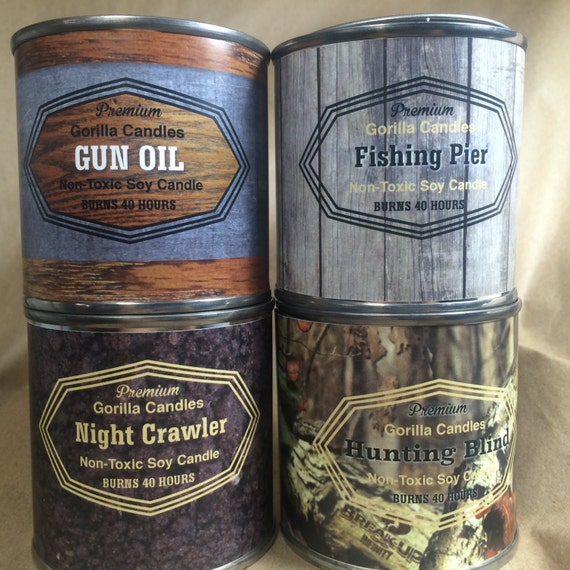 Man Candle Bait Shop Collection Hunting Fishing Candles 4 Pack - Gun Oil, Pier, Hunting Blind, Night Crawler Bait