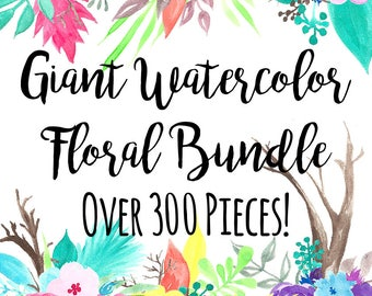 Watercolor Florals Clip Art Bundle, Custom Invitations Clip Art, Digital Flowers PNG Flowers Clip Art, Wedding Flowers Clip Art, 300+ Pieces