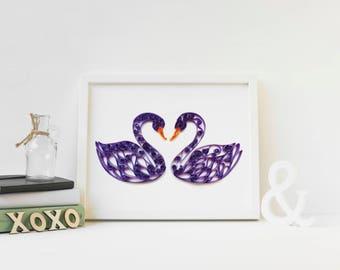 Original Paper Art, Quilled Art, Swan Art, Swan Wall Art, gift for wife, anniversary gift her, art for living room, wedding gift couple