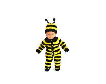 Hand Knitted Baby Bumble Bee Costume Set, Romper, Hat and Socks, 3 Pieces, %100 Wool