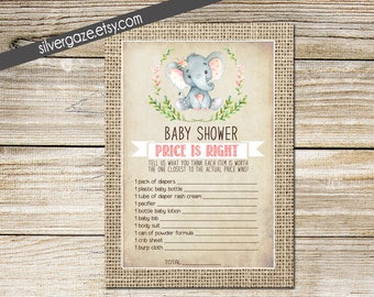 Price is Right Baby Girl Shower Game, Immediate Download, Printable Game - 164