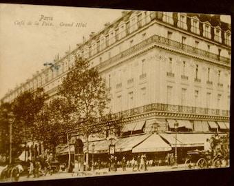 Antique French Postcard Paris: Cafe De La Paix