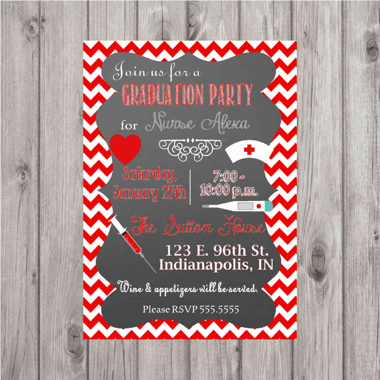 Digital Red Chevron Nurse Graduation Party Invitation You