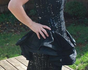Sale! Vintage 80's Little Black Dress! Lace, Sequins, Strapless!
