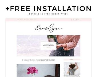 "Feminie Blogger Template - ""Evelyn""   Responsive Blogger Template, Blogger Theme, Simple Blog Template, Free Installation,, Template Slider"