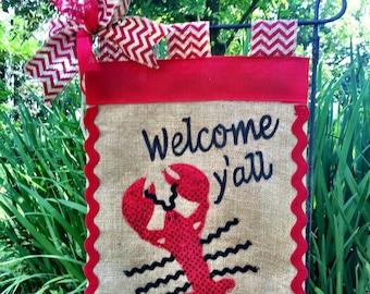 Crawfish Garden Flag, Crawfish boil decorations, lobster flag, Welcome Y'all Garden Flag, Crawfish Boil , Crawfish Time, Craw fish, Cajun