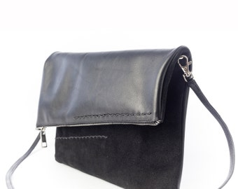 Black Leather Shoulder Bag, Black Leather, Foldover Shoulder Bag