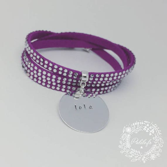 "Personalized Bracelet multi-turn with Medal and its customizable engraving by Palilo ""rhinestones"""