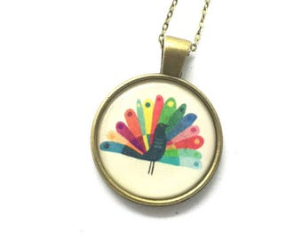 Peacock Pendant, Rainbow Pendant, Animal Necklace, Boho Necklace,  Long Necklace