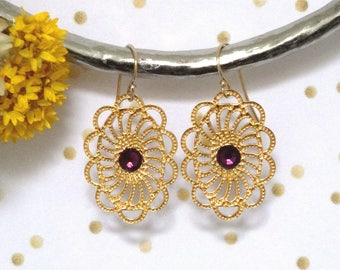 LUCIE * earrings Gold Medallion and Swarovski Pearl