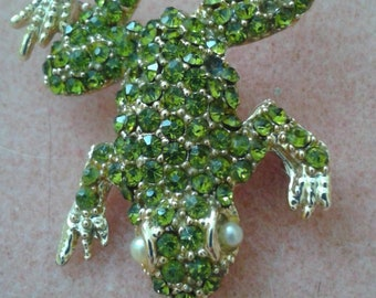 Lovely Green Sparkly Frog Brooch