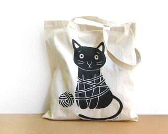 Cat Bag, Black cat Tote Bag, Cat shopper bag, Cat lovers bag, Reusable grocery bag Olula, Eco friendly shopping bag, Shopper bag, Olula