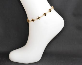 Ankle bracelet crystal of Swarovksi crystal Golden shadow and crystal metallic gold 2x