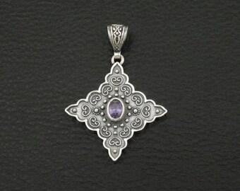 Amethyst Cz Pendant Byzantine Style 925 Sterling Silver Greek Handmade Art Luxury