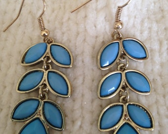 Light Blue Leaf Earrings