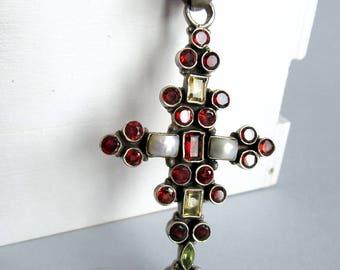 India Cross.Multistone India Pendant.