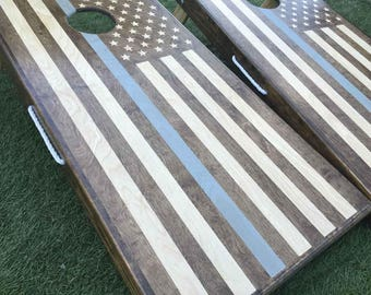 Stained Blue Lives Matter American Flag Cornhole Boards, Outdoor Game, Bag Toss, USA Cornhole, Gift for Him, Lawn Game, Outdoor Entertaining