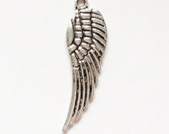 Silver, golden or antique bronze angel wing charm 30x9mm