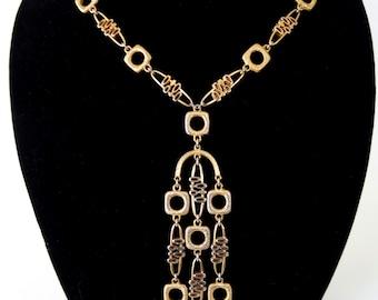 Crown Trifari Gold Tone Modernist Pendant Necklace