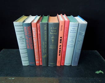 Red Gray Books For Decor - Decorative Book Stack - Instant Library - Vintage Book Set - Props Photo Shoot Book Collection