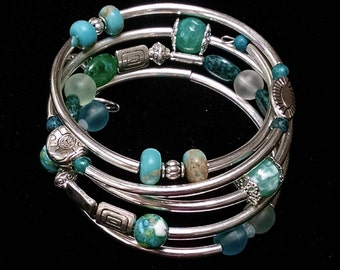 Sea Glass, Turquoise and Silver Wrap Bracelet