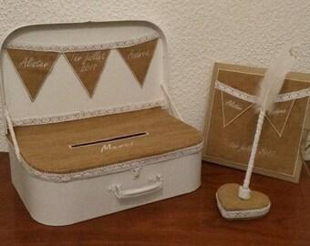 livre d or personnalisé avec stylo et tirelire en forme de valise - mariage vintage, avec toile de jute