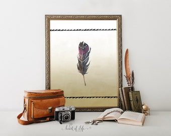 Printable feather art print Watercolor feather art Tribal feather print Tribal nursery art Aztec nursery decor Tribal print Aztec printable