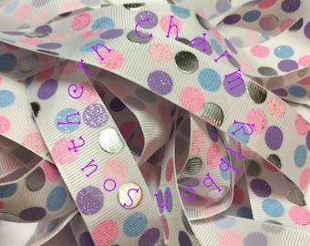 Sweet Things Silly Dot Grosgrain Ribbon, 7/8 inch dot ribbon, silver foil print, pink blue purple, US Designer Ribbon, ribbon by the yard