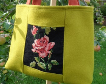 Vintage Needlepoint and Up-cycled Fabric Tote