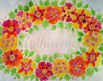 Colorful Watercolor Wreath Print