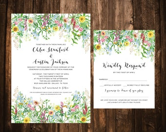 Wildflower Wedding Invitations; Soft; Blue, Blush, Yellow; Pastel; Printable OR set of 25