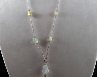 Long aqua tassel necklace