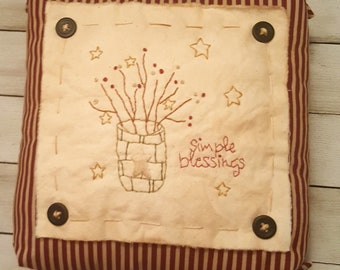 Primitive Stitchery Pillow 'Simple Blessings' Mothers Day Gift Primitive Decor Rustic Shabby Farmhouse Hand Embroidered Ready to Ship