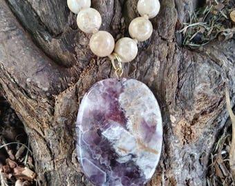 Amethyst and Desert Jasper bead strand necklace