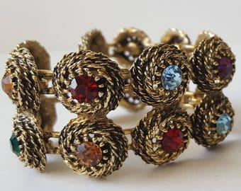 Vintage Multicolor Rhinestone Bracelet, Judy Lee Cushion Cut Rhinestone Bracelet, Gold Tone Rope Rhinestone Link Bracelet, Signed Judy Lee
