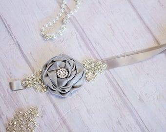 Rustic Flower Girl Sash, Bridesmaid Sash, Rustic Bridal Sash,  Rustic Maternity Sash, gray Sash, gray Bridal Belt, Flower Girl Sash