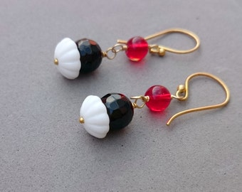 Black and White Earrings - Black Onyx Earrings with Snow White and Red Vintage Glass - Wire Wrapped Dangle Black and Red Earrings