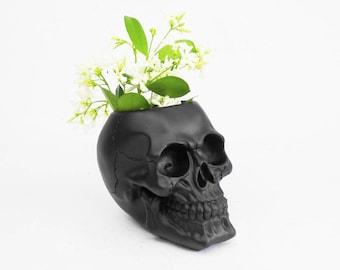 Skull Vase, Demon Skull, Pen Holder, Vase, Makeup Organizer, Skull, Skull Decor, Skull, Painted Skull, Human Skull, Makeup Brush Holder,