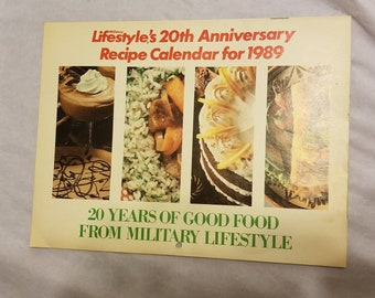 Vintage Kitchen Calendar Military Lifestyle 20th Anniversary Recipe Calendar - 1980s Monthly Recipe Calendar - Vintage Wall Calendar