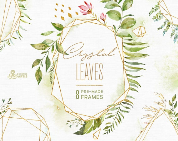 Crystal Leaves Frames Watercolor Floral Amp Polygonal Pre