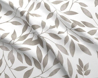 """Brown Leaves Fabric - 36"""" Floral Elephant Brown Leaves By Shopcabin - Brown Leaves Botanical Cotton Fabric By The Yard With Spoonflower"""