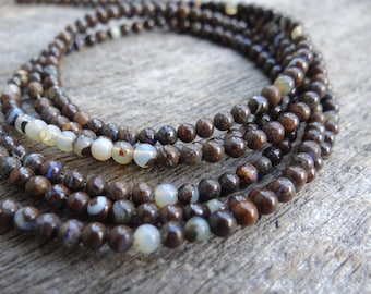 Rustic Australian Boulder Opal   Smooth Plain Rounds   3-3.5mm   Sold in Sets of 10 Beads