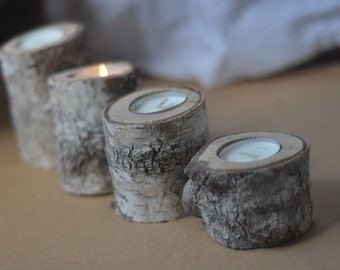 personalized  birch candle holder . . . Set of 4