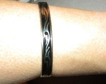 Father's Day Gift, Cuff, Bangle, Stainless Steel, Unisex, Bracelet, Etched, Black, Tribal, Design, Biker, Rocker